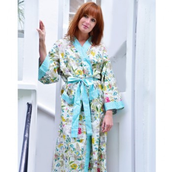 Cotton Dressing Gown - White Leaf