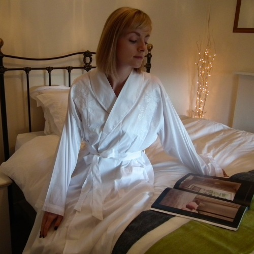 Ladies luxurious white cotton wrap around dressing gown