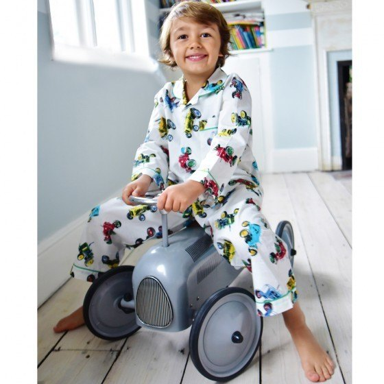 Boy's traditional cotton pyjamas in vintage tractor pattern