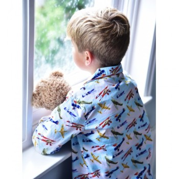 Boy's traditional pure cotton pyjamas in an all over vintage plane design