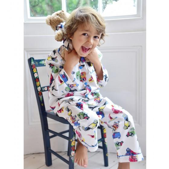 Boy's traditional cotton pyjamas in vintage transport design