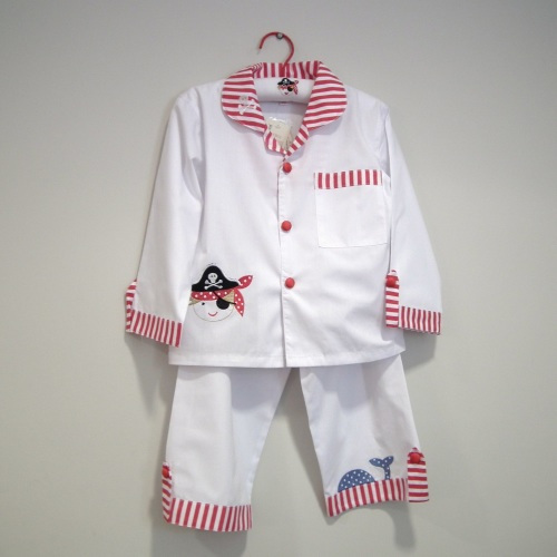 Traditional cotton pyjamas for children in a quirky red & white pirate desi