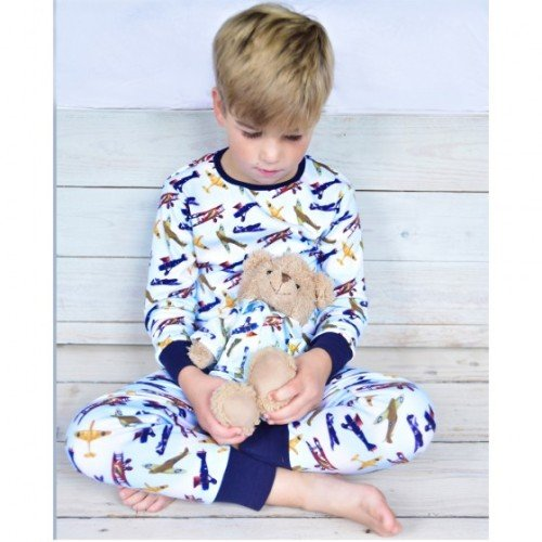 Boy's stretchy cotton pyjamas in colourful vintage plane pattern