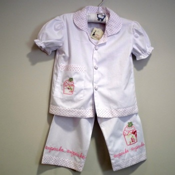 Girl's Short Sleeved White Cotton Pyjamas With Pink Cupcake Motifs