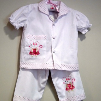 Girl's Short Sleeved White Cotton Pyjamas With Cute Mouse Motifs