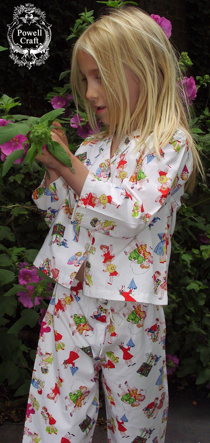 Girls long sleeved pyjamas in 100% cotton printed with a vintage childhood