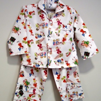 """Girl's Long Sleeved Cotton Pyjamas in Vintage Style Design """"Girls at Play"""""""