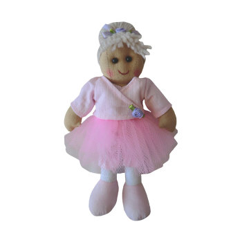 Traditional,  Soft-bodied Tiny Rag Doll dressed as a Ballerina