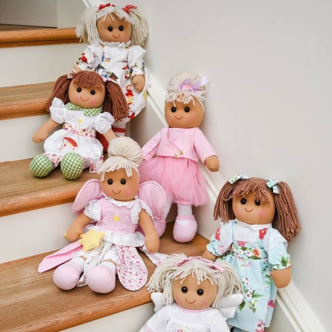 Traditional, soft-bodied, collectable rag dolls