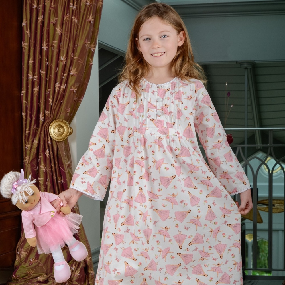 Girl's long sleeved printed cotton nightdress with ballerina design