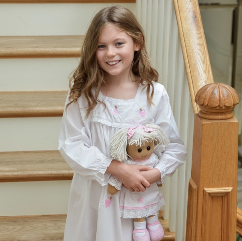 Girl's long-sleeved cotton nightdress with a fairies and angel rag doll