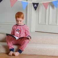 Boy's red & white striped cotton jersey pyjamas with a pirate motif