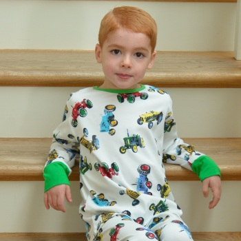 Boy's jersey pyjamas in an all over vintage tractor pattern