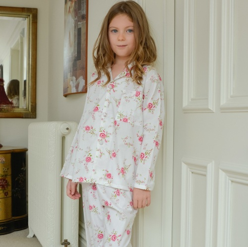 Girl's 100% cotton, traditional pyjamas in an all over rose print