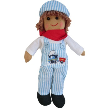 Traditional,  Soft-bodied Tiny Rag Doll dressed as an Engine Driver