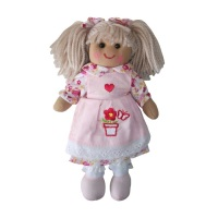 Traditional,  Soft-bodied Tiny Rag Doll wearing a Dress with a Flowerpot Motif