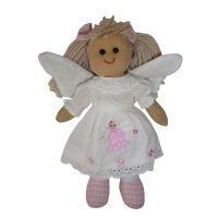 Traditional,  Soft-bodied Tiny Rag Doll dressed as an Angel