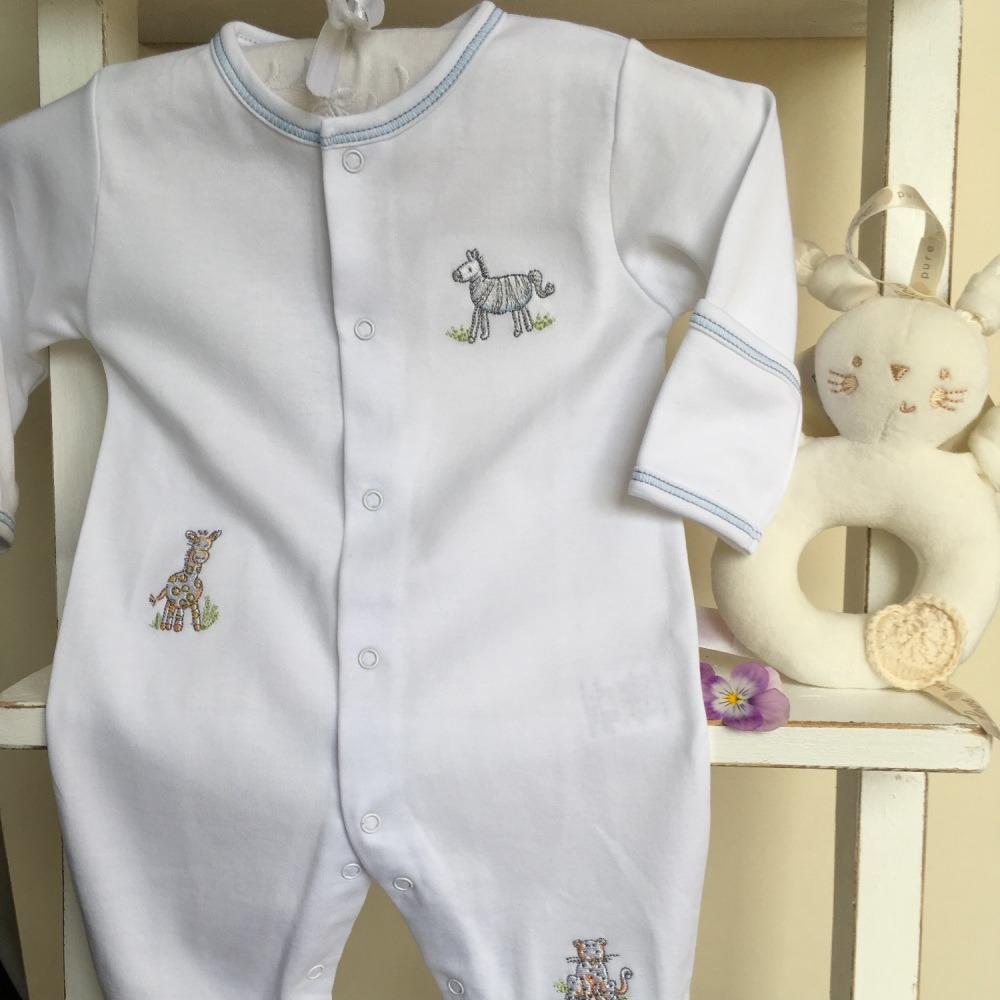 Sunny Safari Embroidered Sleepsuit by Kissy Kissy