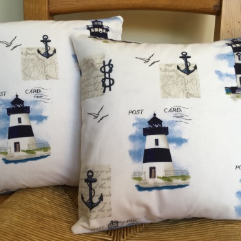 Cushions with Printed Lighthouse Cotton Covers