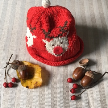 Merry Berries Cotton Knitted Hat - Rudolf the Red Nosed Reindeer Hat