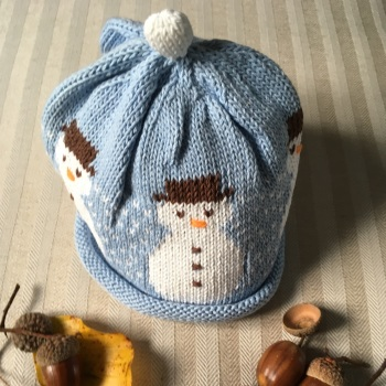 Merry Berries Cotton Knitted Hat - Snowman