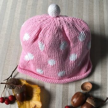Merry Berries Cotton Knitted Hat - Pink Spot