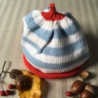 Merry Berries Cotton Knitted Hat - Sky Blue Stripe