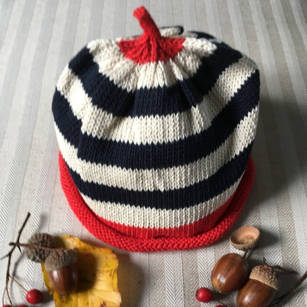 Merry Berries Cotton Knitted Hat - Navy Stripe