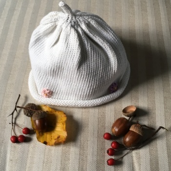 Merry Berries Cotton Knitted Hat - White with Flowers