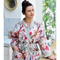 Long Sleeved, Wrap Around Cotton Dressing Gown - Cream Bird