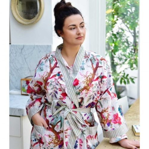 Ladies exotic print cotton dressing gown - cream bird