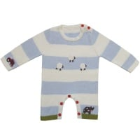 Baby's Knitted Jumpsuit in  Farmyard Design