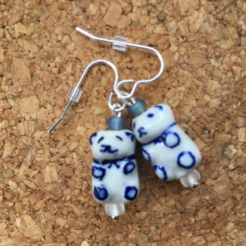 Teddy Bear Bead Pendant Earrings