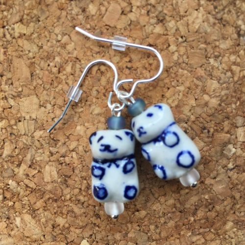 Teddy Bear Bead Drop Earrings