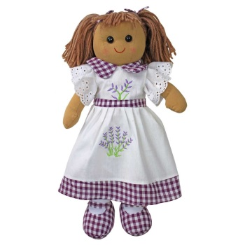 Traditional, soft-bodied rag doll in a lavender embroidered dress