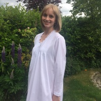 Cotton Lawn Nightdress with Long Sleeves - Barcelona