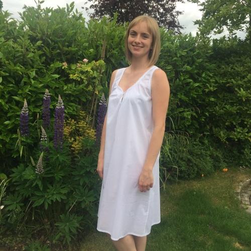 Ladies Short Sleeveless Cotton Lawn Nightdress - Gabrielle