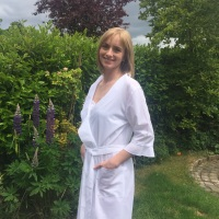 White Ruffled Cotton Lawn Dressing Gown - Odile