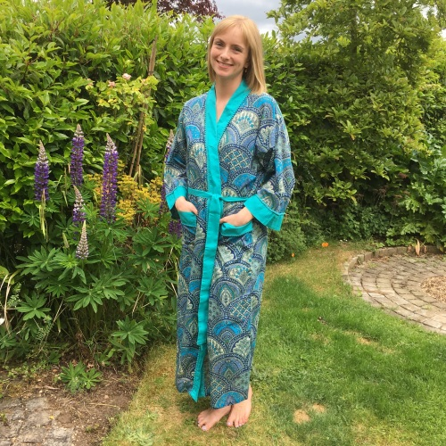 Ladies Long Sleeved, Wrap Around Cotton Dressing Gown - Blue Paisley