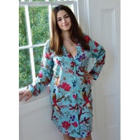 Long Sleeved Cotton Nightshirt - Turquoise Bird