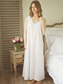 Ladies White Cotton Nightdress - Edwardian Chemise