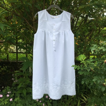 Ladies Sleeveless White Cotton Nightdress - Rosemary