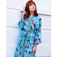 Cotton Dressing Gown - Turquoise Bird