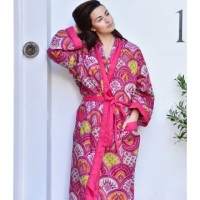 Cotton Dressing Gown - Raspberry Paisley