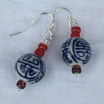 "Round ""Chinese"" Bead Pendant Earrings"