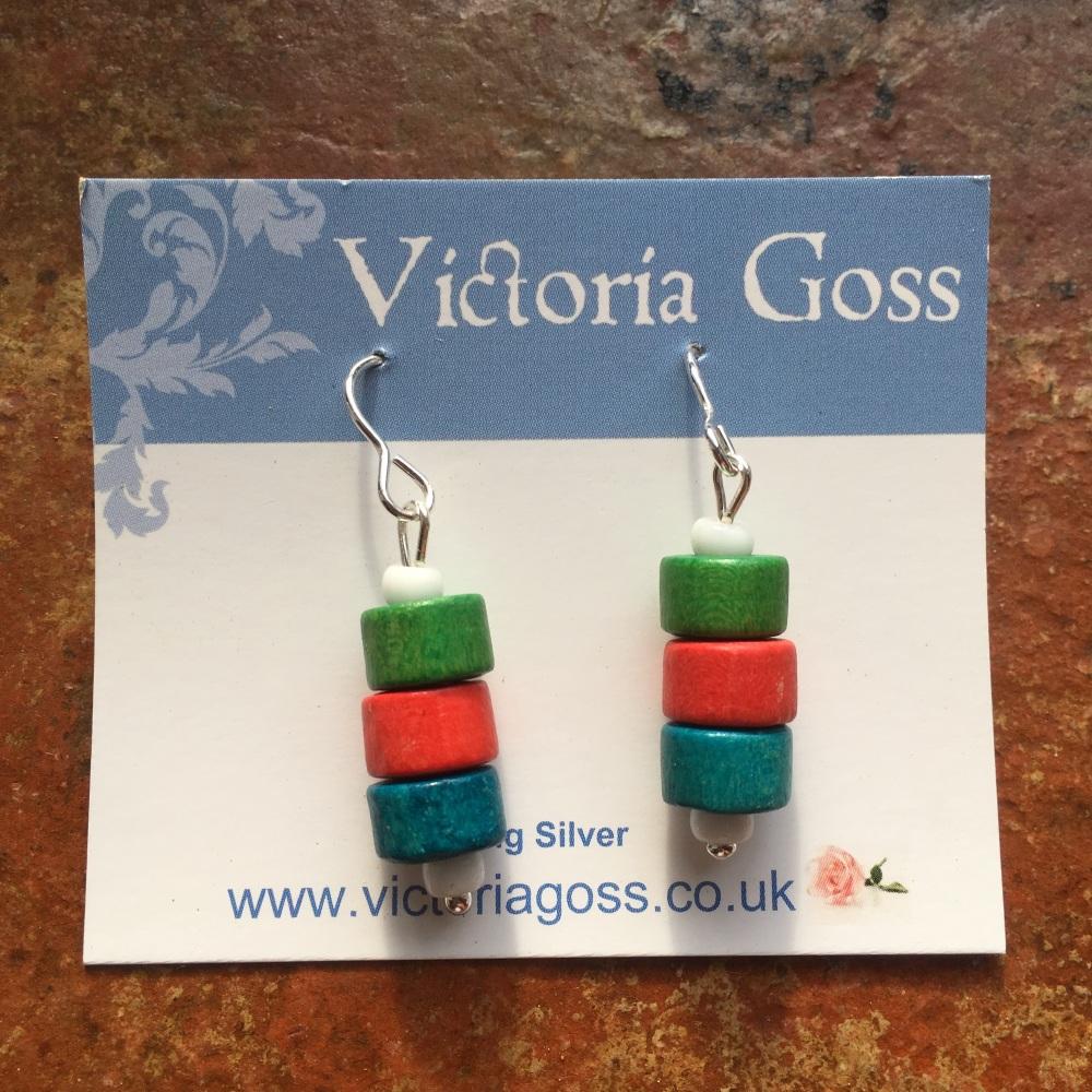 Wooden Bead Drop Earrings - Green, Red, Blue