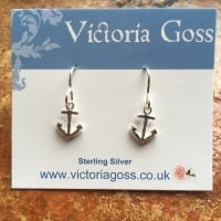 Silver Anchor Pendant Earrings