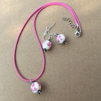 Pink Floral Bead Set