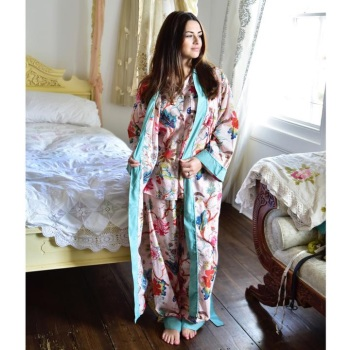 Cotton Dressing Gown - Pink Floral