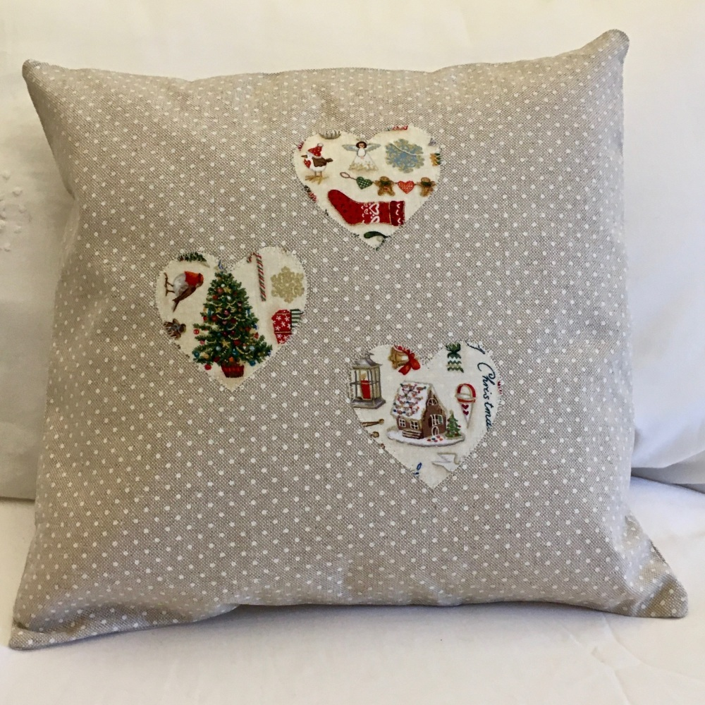 Three Christmas Heart Applique Cushion - Front View